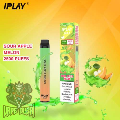 IPLAY MAX 2500 PUFFS DISPOSABLE POD IN UAE Sour apple melon